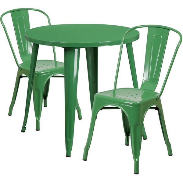 Flash Furniture Green Metal Indoor Outdoor Table Set with 2 Cafe Chairs FLF-CH-51090TH-2-18CAFE-GN-GG