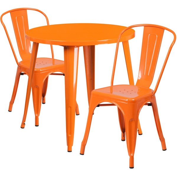 Flash Furniture Orange Metal Indoor Outdoor Table Set with 2 Cafe Chairs FLF-CH-51090TH-2-18CAFE-OR-GG