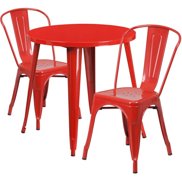 Flash Furniture Red Metal Indoor Outdoor Table Set with 2 Cafe Chairs FLF-CH-51090TH-2-18CAFE-RED-GG