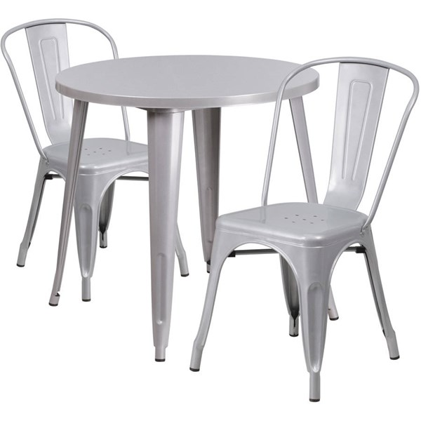 Flash Furniture Silver Metal Indoor Outdoor Table Set with 2 Cafe Chairs FLF-CH-51090TH-2-18CAFE-SIL-GG