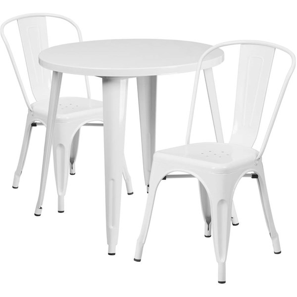 White Metal Round Top and 2 Cafe Chairs Indoor Outdoor Table Set FLF-CH-51090TH-2-18CAFE-WH-GG