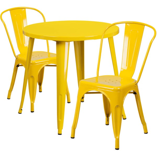 Flash Furniture Yellow Metal Indoor Outdoor Table Set with 2 Cafe Chairs FLF-CH-51090TH-2-18CAFE-YL-GG