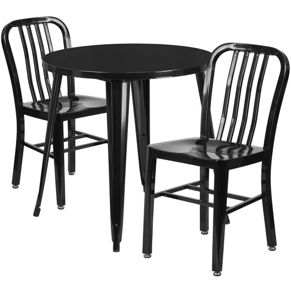 Flash Furniture Black Metal Indoor Outdoor Table Set with 2 Slat Back Chairs FLF-CH-51090TH-2-18VRT-BK-GG