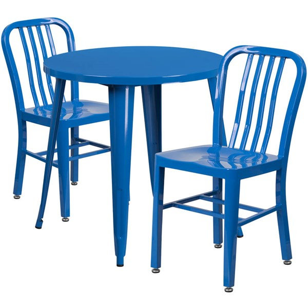Flash Furniture Blue Metal Indoor Outdoor Table Set with 2 Slat Back Chairs FLF-CH-51090TH-2-18VRT-BL-GG