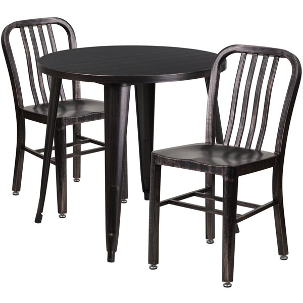 Flash Furniture Black Gold Metal Indoor Outdoor Table Set with 2 Slat Back Chairs FLF-CH-51090TH-2-18VRT-BQ-GG