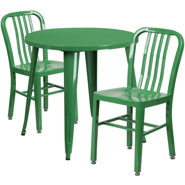 Flash Furniture Green Metal Indoor Outdoor Table Set with 2 Slat Back Chairs FLF-CH-51090TH-2-18VRT-GN-GG