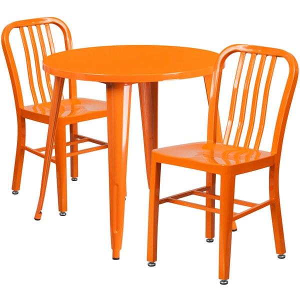 Orange Metal Round Top and 2 Slat Back Chairs Indoor Outdoor Table Set FLF-CH-51090TH-2-18VRT-OR-GG