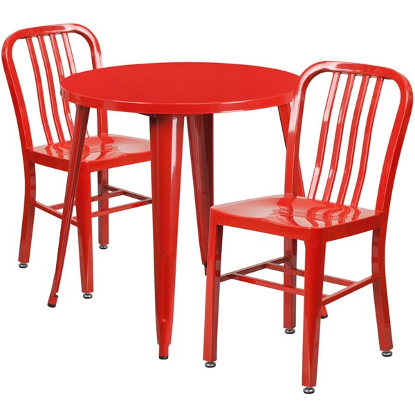 Flash Furniture Red Metal Indoor Outdoor Table Set with 2 Slat Back Chairs FLF-CH-51090TH-2-18VRT-RED-GG