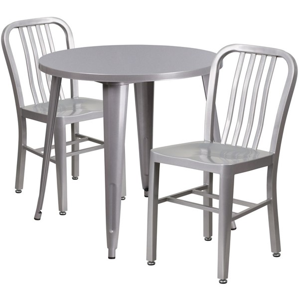 Flash Furniture Silver Metal Indoor Outdoor Table Set with 2 Slat Back Chairs FLF-CH-51090TH-2-18VRT-SIL-GG