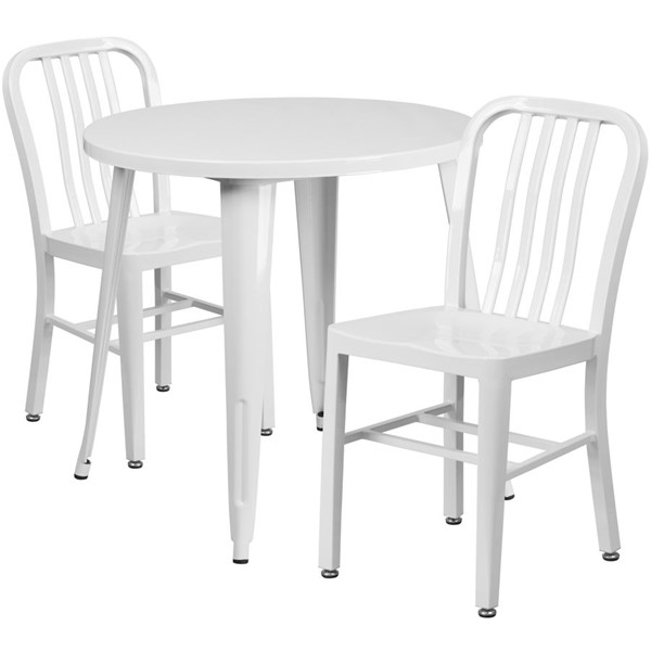 Flash Furniture White Metal Indoor Outdoor Table Set with 2 Slat Back Chairs FLF-CH-51090TH-2-18VRT-WH-GG
