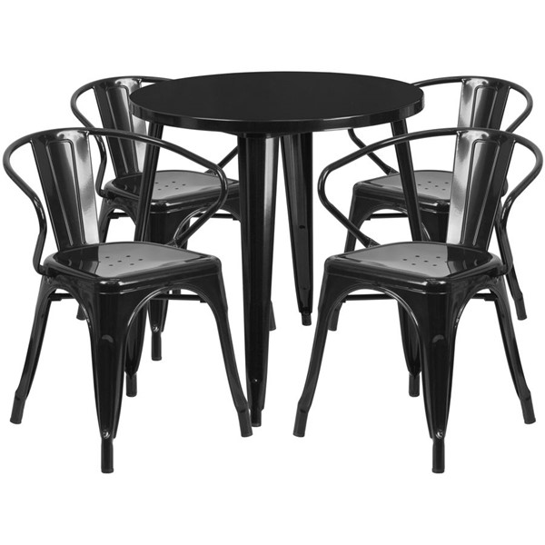 Flash Furniture Black Metal Indoor Outdoor Table Set with 4 Arm Chairs FLF-CH-51090TH-4-18ARM-BK-GG