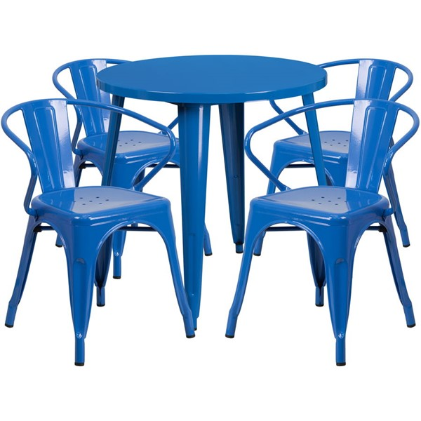Flash Furniture Blue Metal Indoor Outdoor Table Set with 4 Arm Chairs FLF-CH-51090TH-4-18ARM-BL-GG