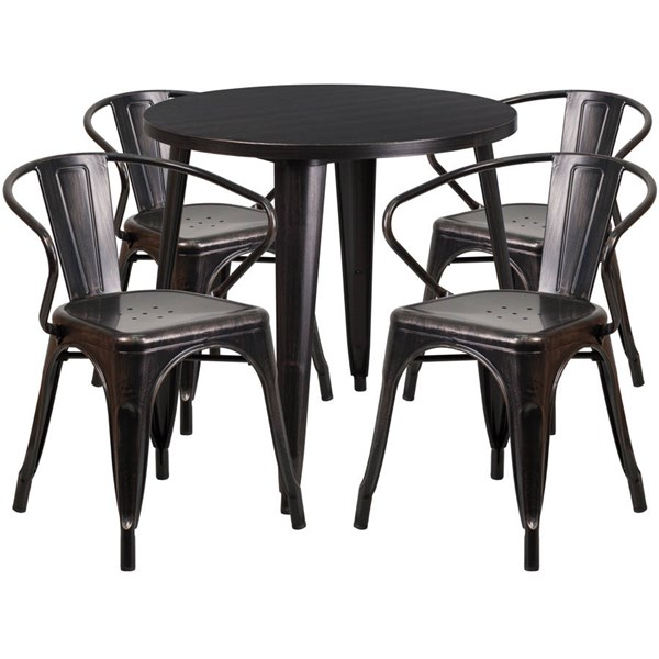 Flash Furniture Black Gold Metal Indoor Outdoor Table Set with 4 Arm Chairs FLF-CH-51090TH-4-18ARM-BQ-GG