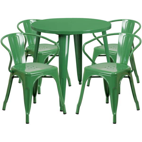 Green Metal Round Top and 4 Arm Chairs Indoor Outdoor Table Set FLF-CH-51090TH-4-18ARM-GN-GG