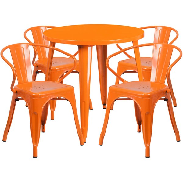 Orange Metal Round Top and 4 Arm Chairs Indoor Outdoor Table Set FLF-CH-51090TH-4-18ARM-OR-GG