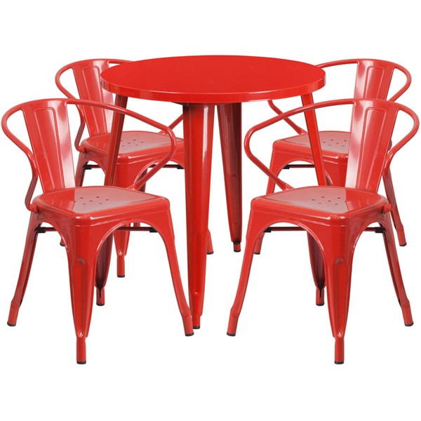 Flash Furniture Red Metal Indoor Outdoor Table Set with 4 Arm Chairs FLF-CH-51090TH-4-18ARM-RED-GG