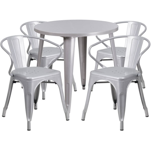 Flash Furniture Silver Metal Indoor Outdoor Table Set with 4 Arm Chairs FLF-CH-51090TH-4-18ARM-SIL-GG