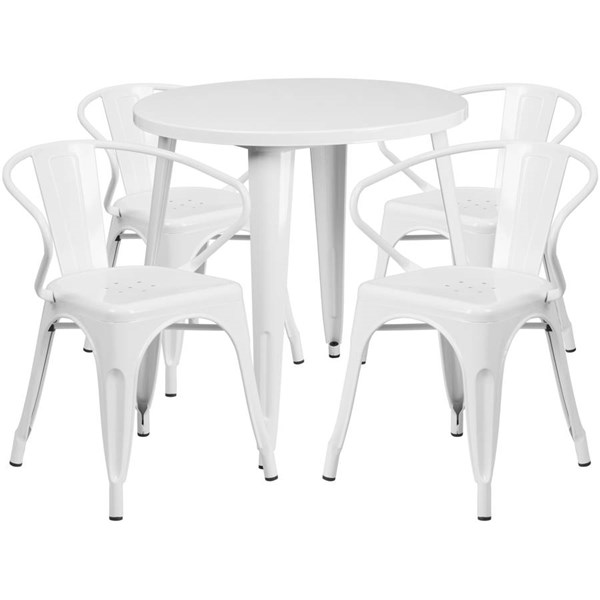 Flash Furniture White Metal Indoor Outdoor Table Set with 4 Arm Chairs FLF-CH-51090TH-4-18ARM-WH-GG