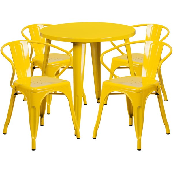 Flash Furniture Yellow Metal Indoor Outdoor Table Set with 4 Arm Chairs FLF-CH-51090TH-4-18ARM-YL-GG