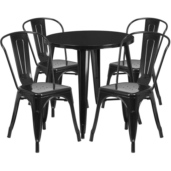 Flash Furniture Black Metal Round Top Indoor Outdoor Table Set with 4 Cafe Chairs FLF-CH-51090TH-4-18CAFE-BK-GG