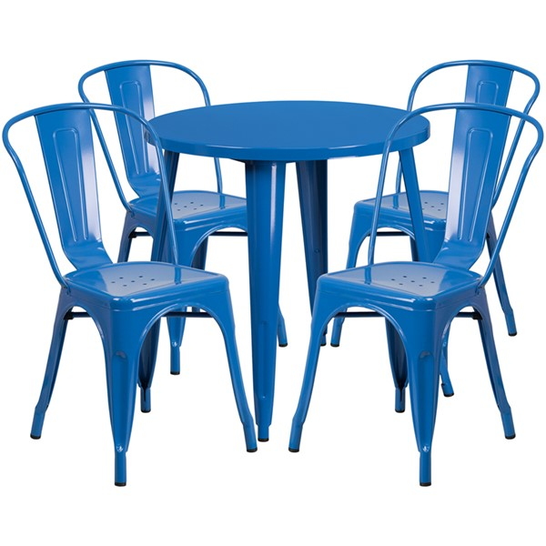 Flash Furniture Blue 30 Round 5pc Bar Set FLF-CH-51090TH-4-18CAFE-BL-GG