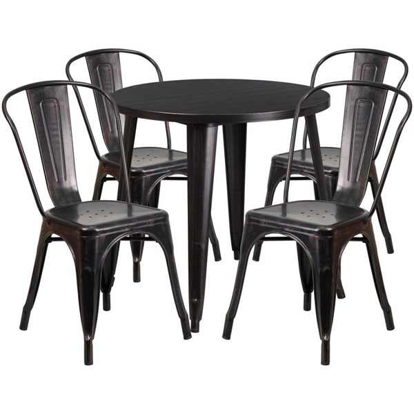 Flash Furniture Black Gold Metal Round Top Indoor Outdoor Table Set with 4 Cafe Chairs FLF-CH-51090TH-4-18CAFE-BQ-GG