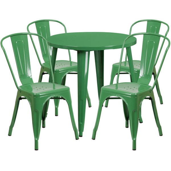 Green Metal Round Top and 4 Cafe Chairs Indoor Outdoor Table Set FLF-CH-51090TH-4-18CAFE-GN-GG