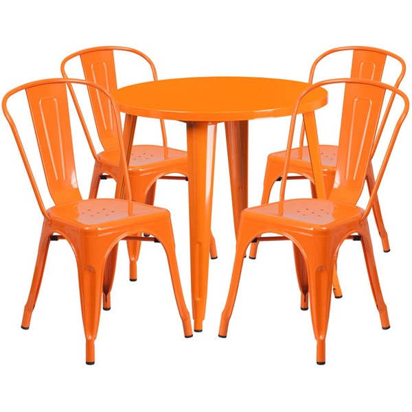 Flash Furniture Orange Metal Round Top Indoor Outdoor Table Set with 4 Cafe Chairs FLF-CH-51090TH-4-18CAFE-OR-GG
