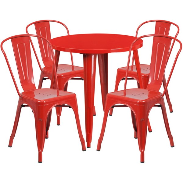 Flash Furniture Red Metal Round Top Indoor Outdoor Table Set with 4 Cafe Chairs FLF-CH-51090TH-4-18CAFE-RED-GG