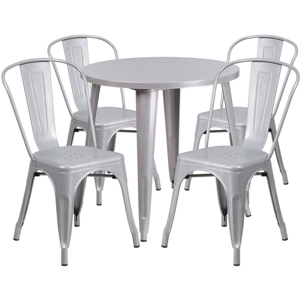 Flash Furniture Silver Metal Round Top Indoor Outdoor Table Set with 4 Cafe Chairs FLF-CH-51090TH-4-18CAFE-SIL-GG