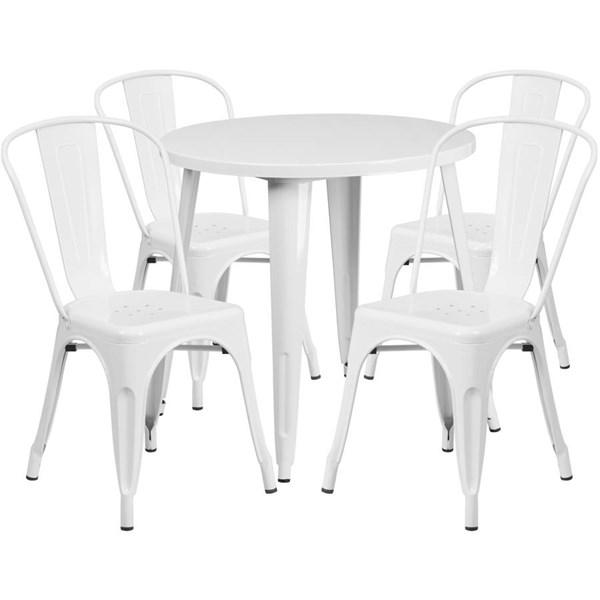 White Metal Round Top and 4 Cafe Chairs Indoor Outdoor Table Set FLF-CH-51090TH-4-18CAFE-WH-GG