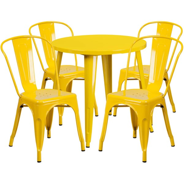 Flash Furniture Yellow Metal Round Top Indoor Outdoor Table Set with 4 Cafe Chairs FLF-CH-51090TH-4-18CAFE-YL-GG