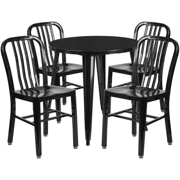 Flash Furniture Black Metal Indoor Outdoor Table Set with 4 Chairs FLF-CH-51090TH-4-18VRT-BK-GG