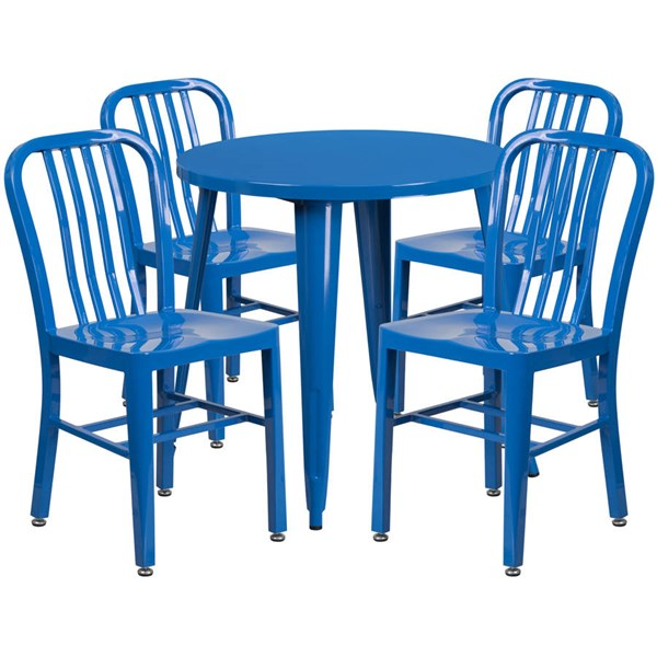 Flash Furniture Blue Metal Indoor Outdoor Table Set with 4 Chairs FLF-CH-51090TH-4-18VRT-BL-GG