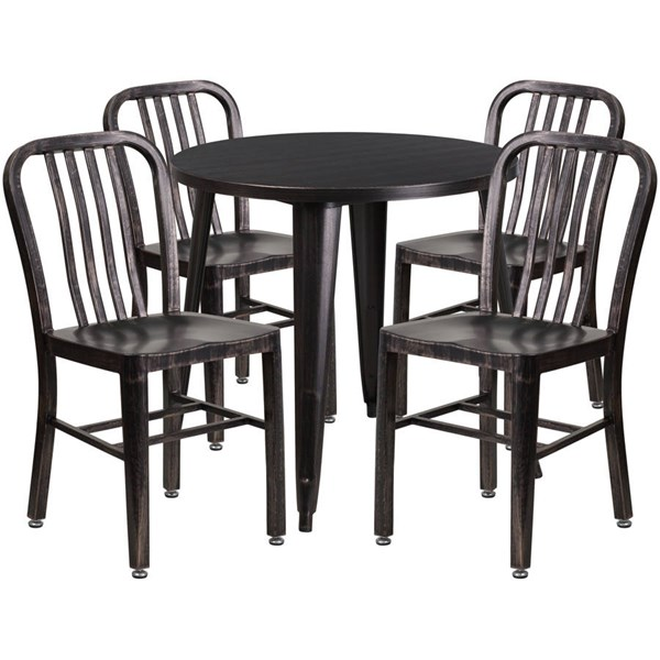 Flash Furniture Black Gold Metal Indoor Outdoor Table Set with 4 Chairs FLF-CH-51090TH-4-18VRT-BQ-GG