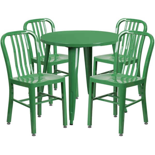 Flash Furniture Green Metal Indoor Outdoor Table Set with 4 Chairs FLF-CH-51090TH-4-18VRT-GN-GG