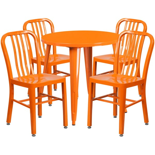 Flash Furniture Orange Metal Indoor Outdoor Table Set with 4 Chairs FLF-CH-51090TH-4-18VRT-OR-GG