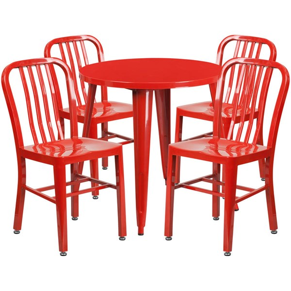 Red Metal Round Top and 4 Slat Back Chairs Indoor Outdoor Table Set FLF-CH-51090TH-4-18VRT-RED-GG