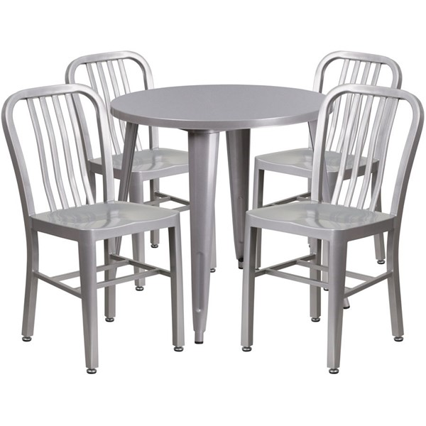 Flash Furniture Silver Metal Indoor Outdoor Table Set with 4 Chairs FLF-CH-51090TH-4-18VRT-SIL-GG