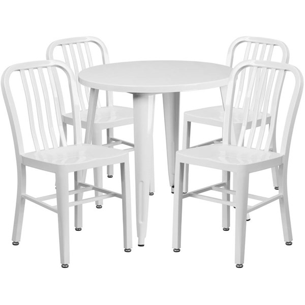 Flash Furniture White Metal Indoor Outdoor Table Set with 4 Chairs FLF-CH-51090TH-4-18VRT-WH-GG