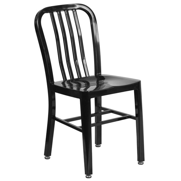 Flash Furniture Modern Metal Slat Back and Armless Indoor Outdoor Chairs FLF-CH-61200-18-DCH-VAR