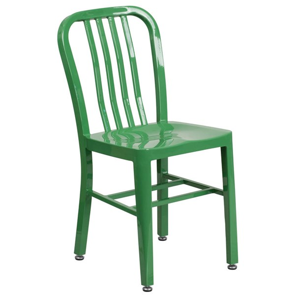Flash Furniture Modern Green Metal Slat Back and Armless Indoor Outdoor Chair FLF-CH-61200-18-GN-GG