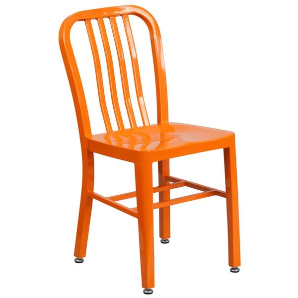Flash Furniture Modern Orange Metal Slat Back and Armless Indoor Outdoor Chair FLF-CH-61200-18-OR-GG