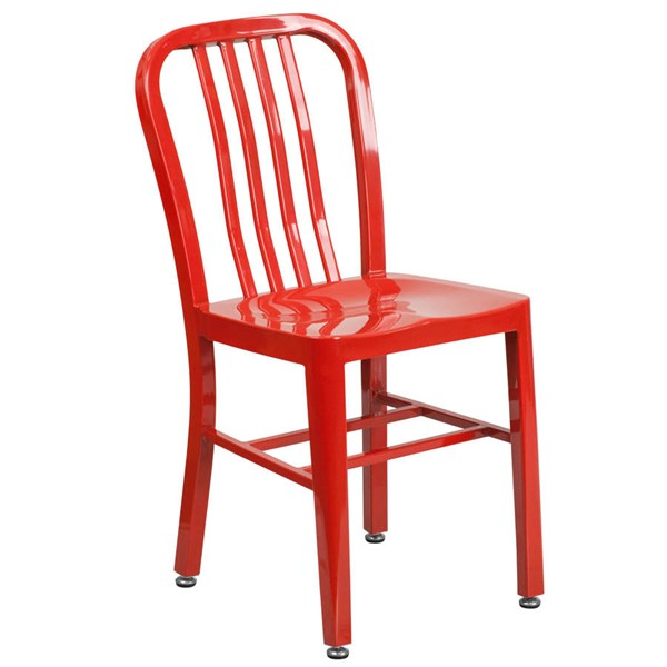 Flash Furniture Modern Red Metal Slat Back and Armless Indoor Outdoor Chair FLF-CH-61200-18-RED-GG