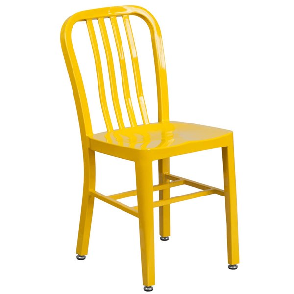 Flash Furniture Modern Yellow Metal Slat Back and Armless Indoor Outdoor Chair FLF-CH-61200-18-YL-GG