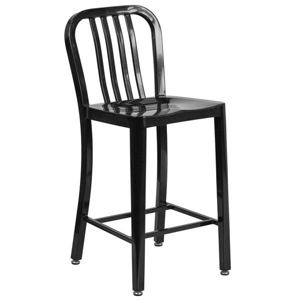 Flash Furniture Black Metal 24 Inch Indoor Outdoor Counter Height Stool FLF-CH-61200-24-BK-GG