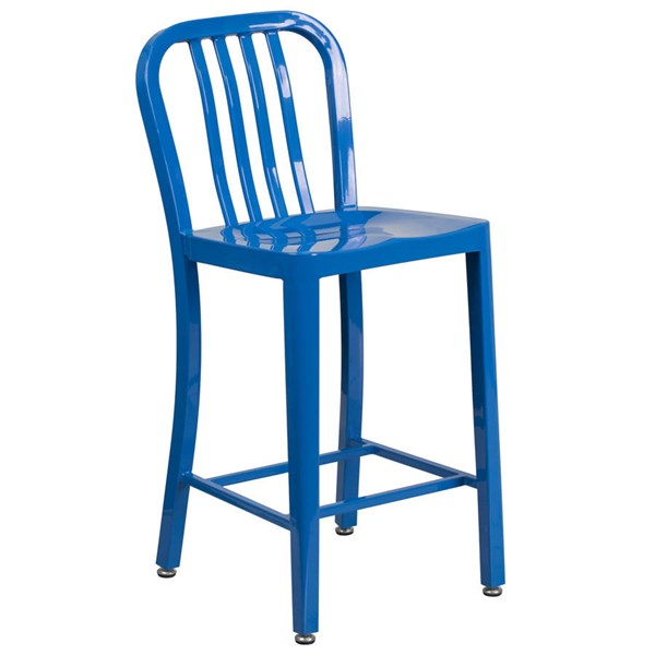 Flash Furniture Blue Metal 24 Inch Indoor Outdoor Counter Height Stool FLF-CH-61200-24-BL-GG