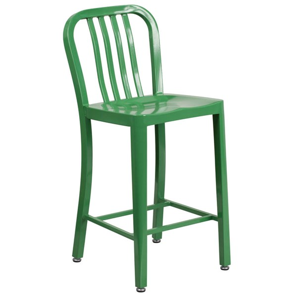 Flash Furniture Green Metal 24 Inch Indoor Outdoor Counter Height Stool FLF-CH-61200-24-GN-GG
