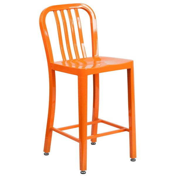 Flash Furniture Orange Metal 24 Inch Indoor Outdoor Counter Height Stool FLF-CH-61200-24-OR-GG