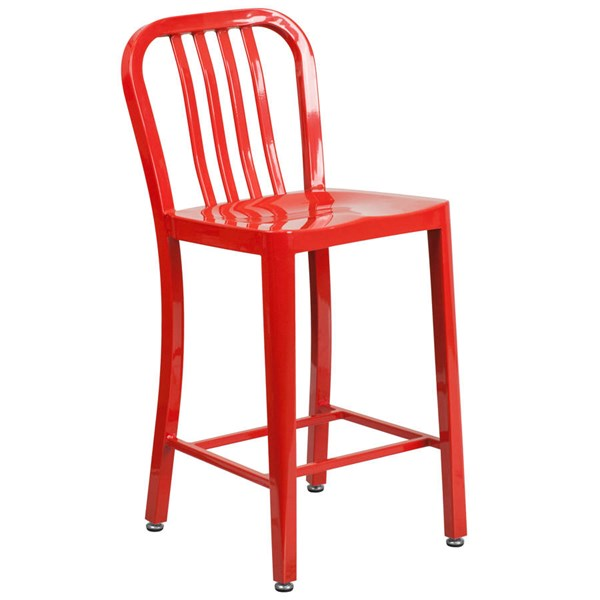 Flash Furniture Red Metal 24 Inch Indoor Outdoor Counter Height Stool FLF-CH-61200-24-RED-GG